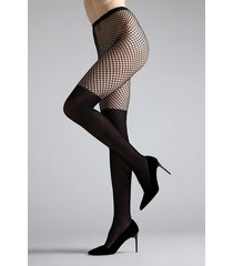natori maxi top net tights, women's, black, size l natori
