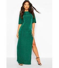 flute sleeve acetate slinky maxi dress, bottle green