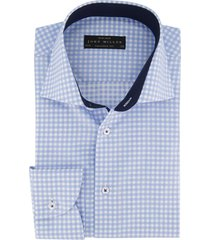 john miller geruit overhemd mouwlengte 7 blauw