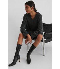 na-kd shoes smala boots med lång tå - black