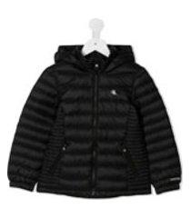calvin klein kids jaqueta matelassê com capuz - preto