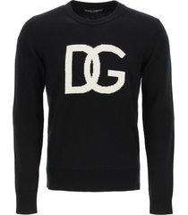 dolce & gabbana dg logo intarsia sweater