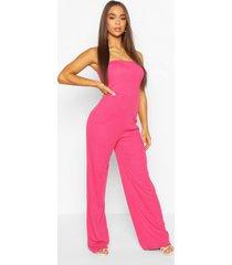 rib bandeau wide leg jumpsuit, hot pink