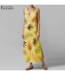 zanzea verano de las mujeres con cuello en v de bohemia de la playa vestido floral maxi vestidos sin mangas -amarillo