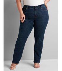 lane bryant women's deluxe fit high-rise straight jean - dark wash 24p dark denim