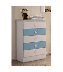 cômoda 5 gavetas branco e azul percasa móveis