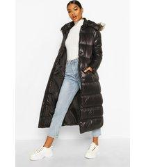 maxi gewatteerde donzen jas met faux fur zoom en panelen, zwart