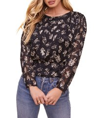 women's astr the label miriam floral top, size small - black