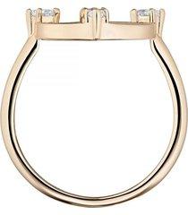 anillo con motivo norte, blanco, baño de oro rosa5515025
