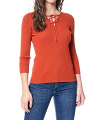 fever women's lace up sweater