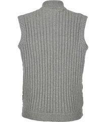 stickad väst med jackmaterial fram boston park grå::khaki
