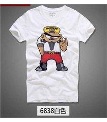 estilo callejero verano hombres corto manga casual camiseta - blanco