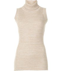 anna quan andi turtleneck knitted top - brown