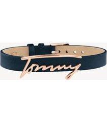 tommy hilfiger women's signature blue leather bracelet navy -