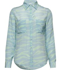 2nd gwen zebra långärmad skjorta blå 2ndday