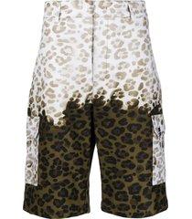 msgm green leopard bermuda shorts