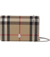 burberry vintage check removable chain strap wallet