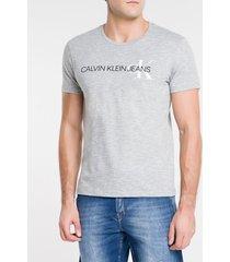 camiseta masculina básica logo ck lateral cinza calvin klein jeans - pp