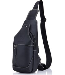 bull captain sling bag for hiking black leather crossbody bag with headphone hol