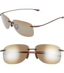 women's maui jim hikina 62mm polarizedplus2 rimless sunglasses - matte rootbeer/ bronze