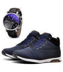 sapatênis urbano com relógio dubuy 1101db azul