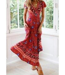 estilo bohemio vestido estampado de playa - rojo