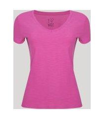 camiseta flamê de algodão básica manga curta decote v pink