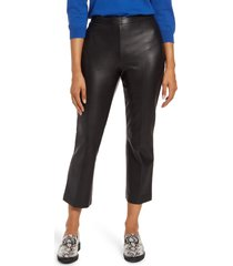 women's halogen crop straight leg faux leather pants, size 16 - black
