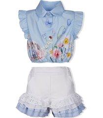 lapin house ruffled blouse and shorts set - blue