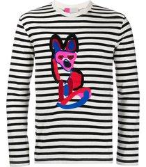 maison kitsuné fox breton stripe sweatshirt - black
