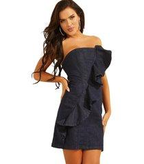 vestido strapless ruffle dress rins denim guess