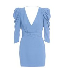 vestido mini ombro puff - azul