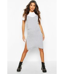 jersey slip midi dress, grey marl