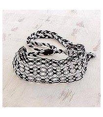 cotton macramé headband, 'moonlit ripples' (costa rica)