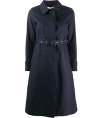mackintosh roslin single-breasted belted trench coat - blue