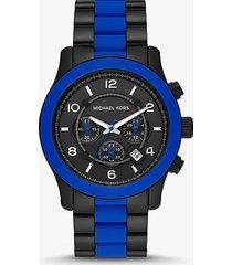 mk orologio runway oversize nero con dettagli in silicone - blu (blu) - michael kors