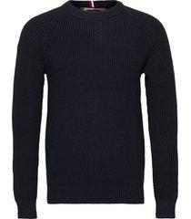 classic rib sweater stickad tröja m. rund krage blå tommy hilfiger