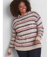 lane bryant women's multi-stripe pullover hoodie 10/12 multi stripe