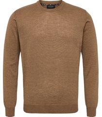 merino light - iq gebreide trui met ronde kraag bruin sand
