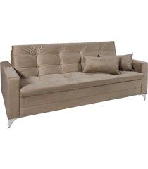 sofá cama 3 lugares facility reclinável império estofados chocolate
