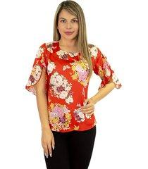 elvira burgos - blusa para dama elegante de moda en seda- ref 77131930– rojo