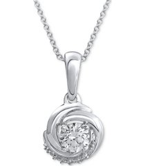 "diamond knot 18"" pendant necklace (1/4 ct. t.w.) in 14k white gold"