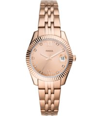 fossil women's scarlet rose gold-tone stainless steel bracelet watch 32mm