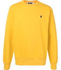 a bathing ape® ape patch sweatshirt - yellow