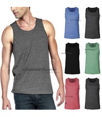 mens tank top t shirts plain soft muscle sleeveless casual sports tee tri blend