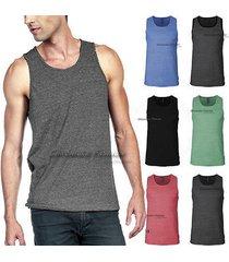 mens tank top t shirts plain soft muscle sleeveless casual sports tee tri blend