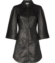 ganni wide-sleeve mini dress - black