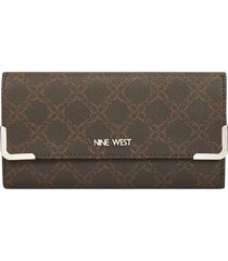 billetera whitley nine west para mujer café estampado
