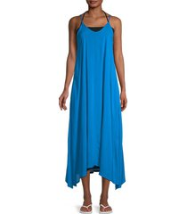 elan women's v-neck maxi slip dress - black - size l