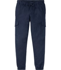pantaloni cargo in misto lino con elastico in vita regular fit (blu) - rainbow